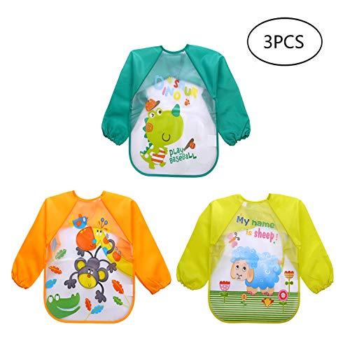 Yeelan 3 stuks baby slabbetjes met mouwen waterdichte lange mouwen slabbetjes EVA unisex baby schort voor zuigeling/Nursling/kinderen/peuters voering spelen schilderij orange + blau + grün