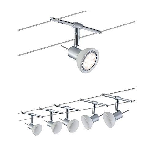 Paulmann 94136 Sheela Système d'éclairage LED à spots - Set d'éclairage sur fil avec 5 luminaires suspendus, câble de 10 m et transformateur de 80V - Plafonnier flottant éco-énergétique GU5.3