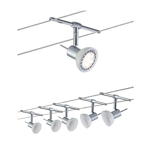 Paulmann 94136 corda System Sheela cromato opaco con 5 Spot, led, metallo;vetro, grigio