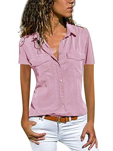 Minetom Damen Basic Blusen Taillierte Kurzarm Damenbluse V-Ausschnitt Shirt Hemd Casual Bluse Einfarbig Oberteil Hemdbluse Shirtbluse Ärmellose Tank Top Weste B Hellrosa 40