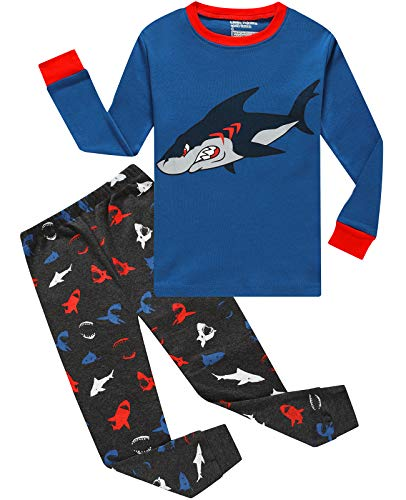 Image of Cotton Snug Fit Mean Shark Pajama Set for Boys