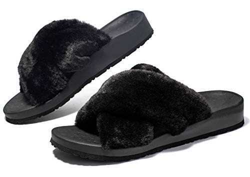 Womens Plantar Fasciitis Slippers with Cross Open Toe Fuzzy Fluffy-Best Orthopedic House Slippers Sandals for Arch Support, Foot Pain Heel Pain Indoor Outdoor Black