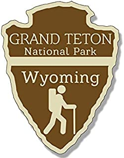 JR Studio 3x4 inch Arrowhead Shaped Grand Teton National Park Sticker - rv Hiking Camping Vinyl Decal Sticker Car Waterproof Car Decal Bumper Sticker
