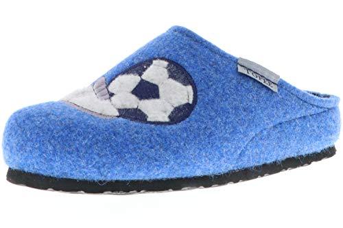 TOFEE Kinder Jungen Hausschuhe Pantoffeln Naturwollfilz (Fußball) blau, Farbe:Blau, Größe:31