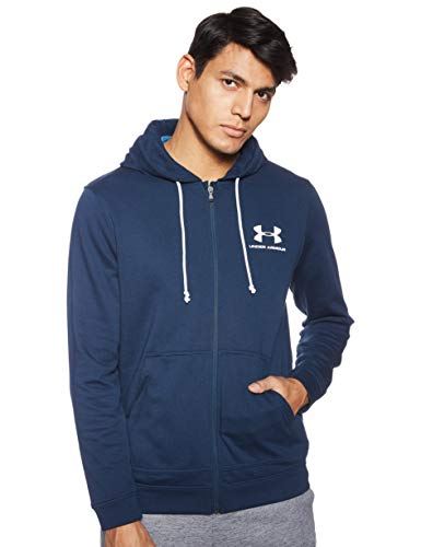 Under Armour Men's Sportstyle Terry Full Zip , Academy Blue (408)/White , X-Large