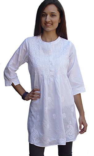 Ayurvastram Bibab Pure Cottn Hand Embroidered Front Pleated Tunic Top Kurti: White, 24W