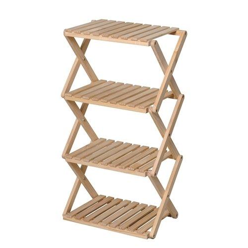 コーナン オリジナル コーナンラック 折り畳み式木製ラック W460(4段) ナチュラル 4段(約幅46X奥行30X高...