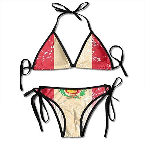 Peru Retro Flag Women 's Two Piece Thong Beach Bathing Suit Classic Lace Up Triangle Bikini Traje de baño Traje de Vacaciones