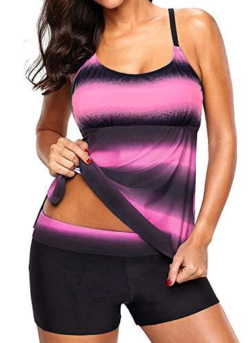 Sixyotie Damen Mehrfarbig Tankini mit Oberteile und Badeshorts Badeanzug Beachwear Zweiteiler Bademode mit Bügeln UV Schutz (Pink, EU 38 (L))