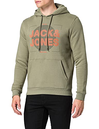 JACK & JONES JCOCLUSTER Sweat Hood Fst Felpa con Cappuccio, Verde-Deep Lichen Green, M Uomo