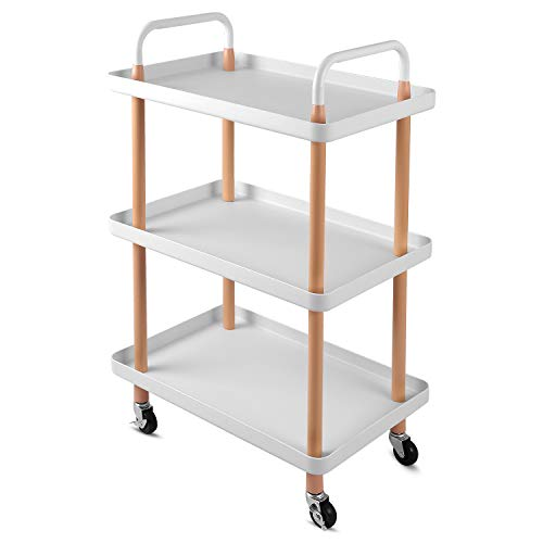 johgee 3 Tier Rolling Cart Utility Organizer Rolling Cart Multi-Function Storage Trolley with Handle and Lockable Wheels for Home Kitchen Bathroom Living Room Office Salon