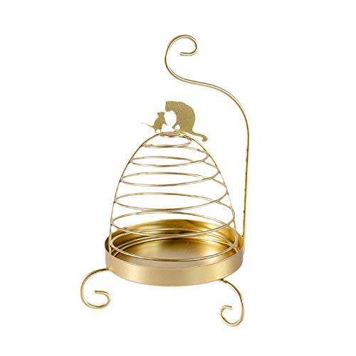 GEZICHTA Mosquito Coil Holder Home Bedroom Iron Art Cute sy Use Candle Rack Rustproof Retro Insect Repellent Portable Storage Hanging Nordic(Gold Cat)