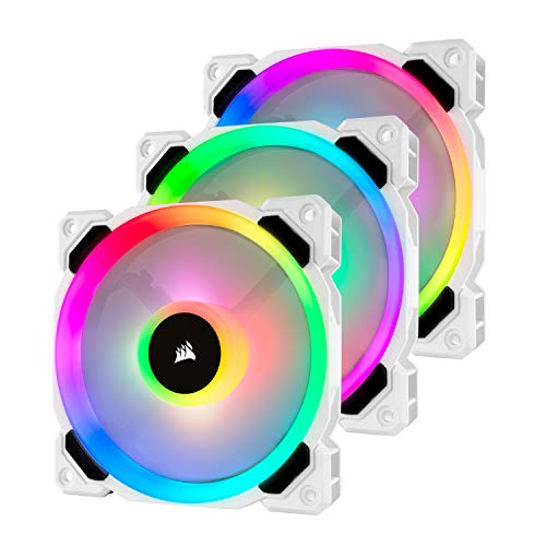 Corsair LL Series LL120 RGB - Set di 3 ventole con LED RGB da 120 mm, con Lighting Node PRO, colore bianco