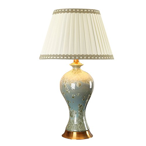 GXJ-tafellamp tentoonstellingshal decoratieve lamp keramiek tafellamp, metalen voet, plissé lampenkap, villa woonkamer studie decoratieve lamp E27 veilige verpakking vervoer