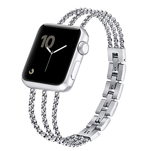 fastgo Compatible with Apple Watch Bands 38mm 42mm Iwatch Bracelet Series 6 SE 5 40mm 44mm Women Cuff, Metal Steel Straps Wristband Compatible with Apple watch Series 4 3 2 1(Silver, 42mm/44mm)