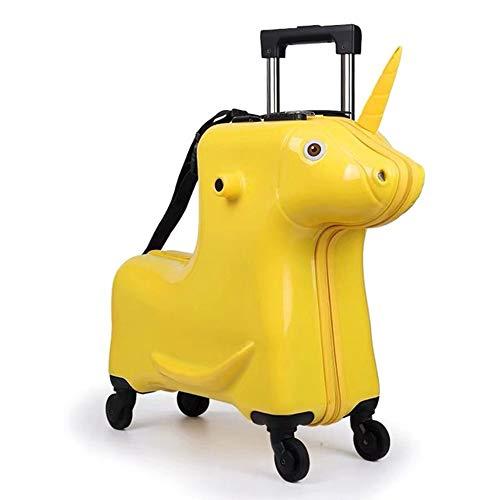 Koffer XYDBB Horse Kids Rollende kindertrolleytas Zitkoffer op wielen 20
