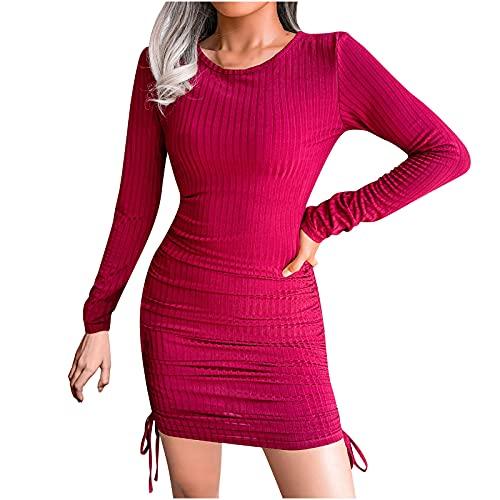 Women Sexy Dresses Drawstring Bandage Stripe Knitting Bag Hip Dress Creweneck Bodycon Fashion Short Skirts