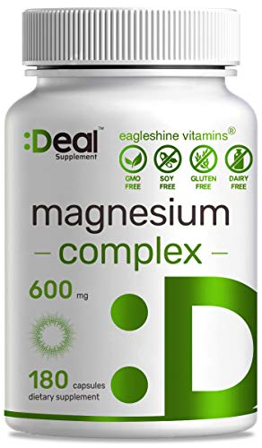 Magnesium Complex 600mg, 180 Capsules, Chelated Magnesium Supplement, Supports Sleep, Muscle Cramps, Stress Relief & Healthy Digestion System