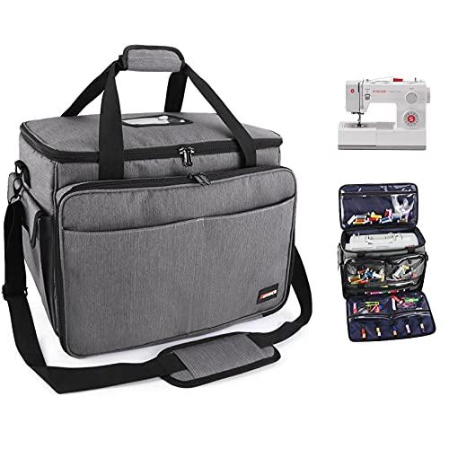 Suteck - Bolsa de transporte para máquina de coser portátil con múltiples bolsillos de almacenamiento, correa de hombro extraíble...