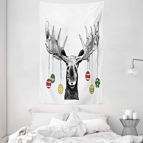 ABAKUHAUS Alce Tapiz de Pared y Cubrecama Suave, Alce con Adornos de Navidad Bolas Colgando de Las Astas Bosquejo Divertido Arte, Decoración para el Cuarto, 140 x 230 cm, Multicolor