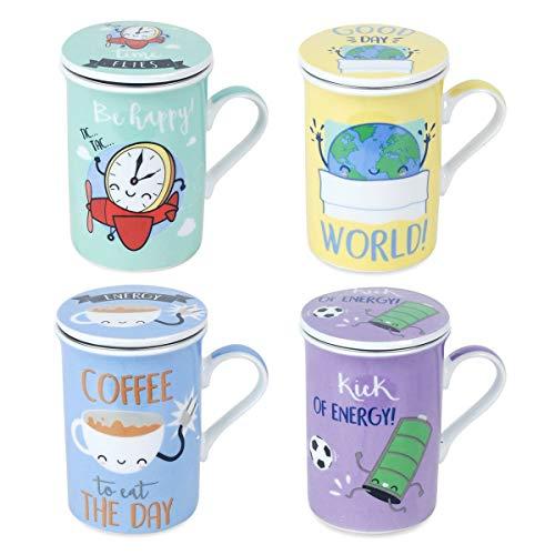 Decor And Go Mug Kawai Con Filtro Diseño Sigris Incluye 4 Unidades Cocina Mugs Y Vasos Colección Te