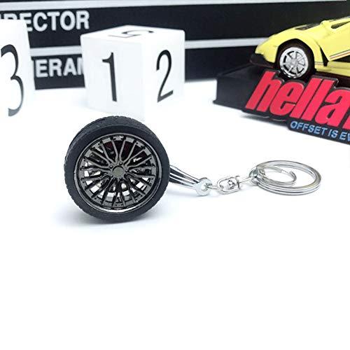 XuBa Felgen BBS Reifen Rad Metall Keychain Auto Rad Keychain Schlüsselring Schwarz 10 cm * 3,5 cm