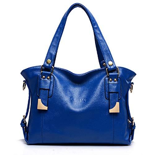 LOVE LABINI Damen Henkeltaschen Modische Schultertaschen Leder Shopper Beiläufig Umhängetaschen Weiches Tasche Blau