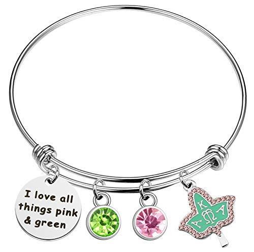 JIGAL AKA Sorority Gift Alpha Kappa Alpha Paraphernalia Jewelry AKA Bracelet Graduation Gifts for Women I Love All Thing Pink Green Charm Bracelet Silver