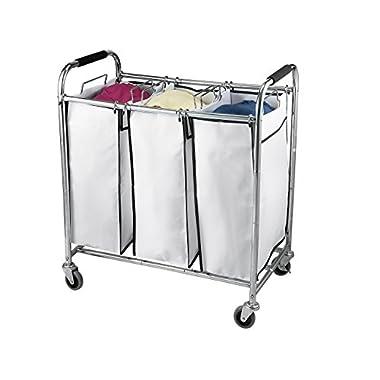 Saganizer Hamper with Wheels Rolling Cart Heavy Duty Triple Laundry Organizer/Sorter, Chrome/White