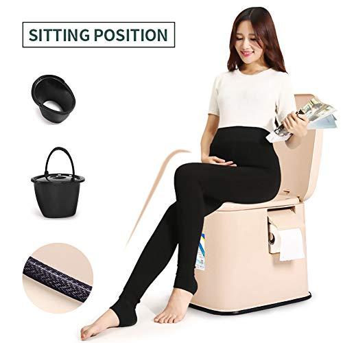 Sedile WC Portatile Toilette Comfort Chair per Campeggio Spiaggia con vasche Estraibili per Una Pulizia Anziani Donne Incinte,Khaki