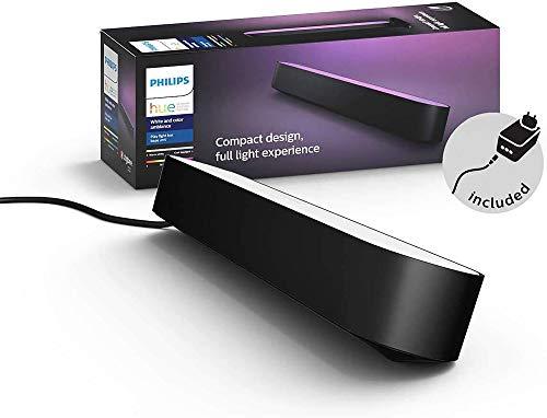 Philips Hue White and Color Ambiance Play Lightbar, dimmbar, bis zu 16 Millionen Farben, steuerbar via App, kompatibel mit Amazon Alexa, schwarz