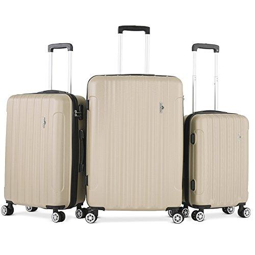 Vojagor Set valigie trolley guscio rigido set da 3 trolley S/M/L colore a scelta (CHAMPAGNE)