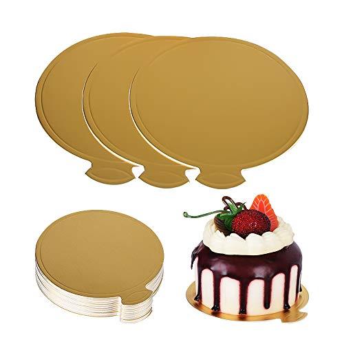 Juego de 100 platos redondos dorados para tartas, para magdalenas y postres, ideal para fiestas, bodas, cumpleaños, restaurantes