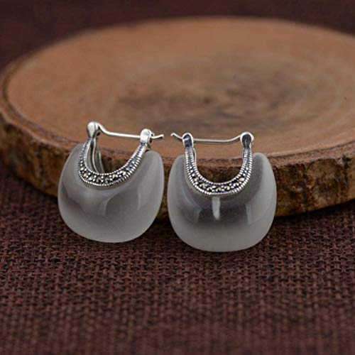 S925 Silver Retro Thai Silver Women's Fashion Inlay Synthetic Opal Earrings, WOZUIMEI, White Cat's Eye Style, 925 Silver
