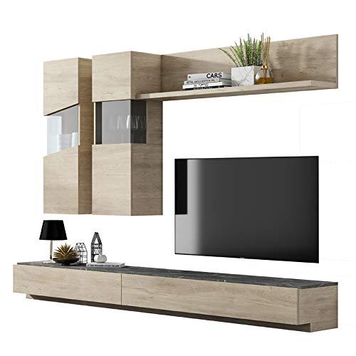 Tousmesmeubles Composition TV Bois Clair/Marbre Gris - Camelia - L 270 x l 45 x H 180 - Neuf