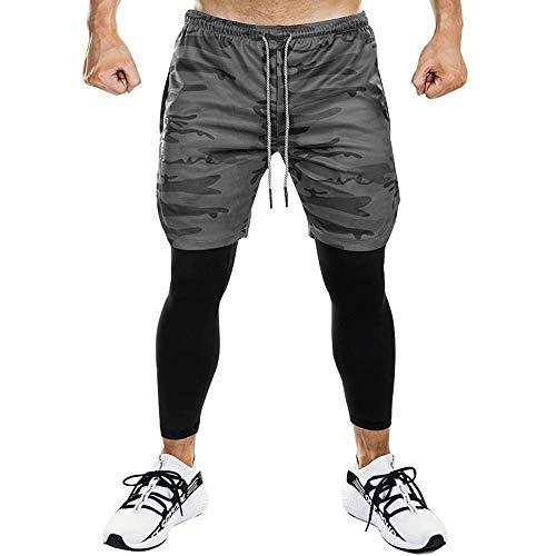 Superora Pantaloncini Sportivo Legging Uomo Legging Tuta Casual Pantaloncini Doppio Strato Sport da Corso Fitness Plastica Outdoor