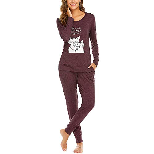 Pijama Invierno Mujer Algodon Camiseta de Mangas Larga +