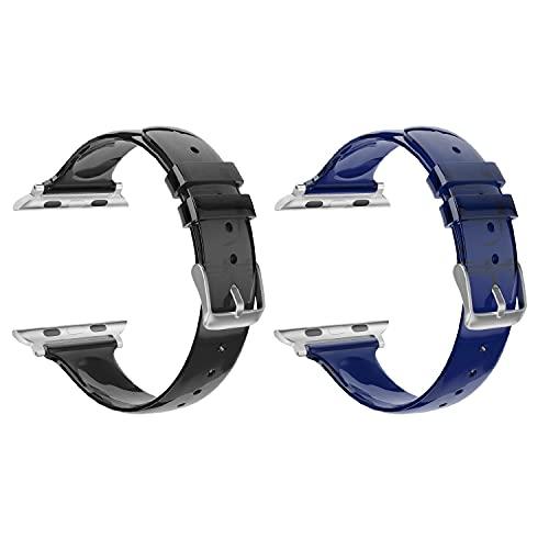 SOUWILA Compatible con Caucho Correa Reloj 38 mm 40 mm 42 mm 44 mm Dos Paquetes iWatch Series 6/5/4/3/2/1 Caucho Correa Reloj con Hebilla de Acero Inoxidable (38mm, Black-Navyblue)