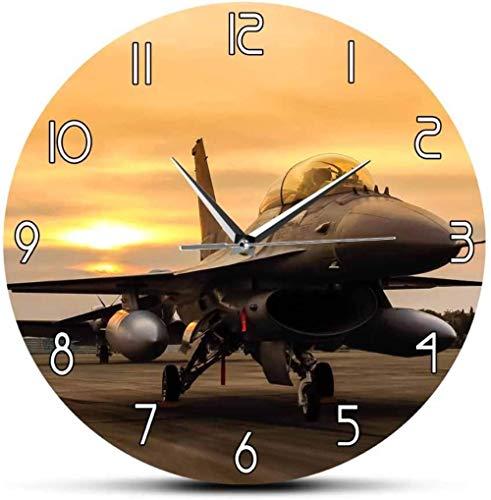 Reloj De Pared F16 Falcon Fighter Jet Aircraft Avión United States Air Force Aircraft Arte De La Pared Decoración De Aviación Piloto Militar Regalo Para Sala De Estar Dormitorio Cocina Etc