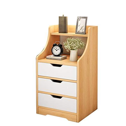 SPRINGHUA Mesitas de noche de madera para dormitorio con 3 cajones, simple nórdico, mini apartamento pequeño dormitorio mesa de almacenamiento moderna (color: A)