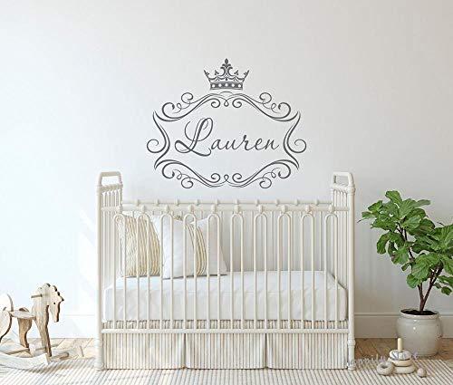 yaonuli Muurstickers voor meisjes, prinses, kroon, gepersonaliseerde decoratie, meisjes, naam, muursticker, kindertuin, kamerdecoratie, deursticker