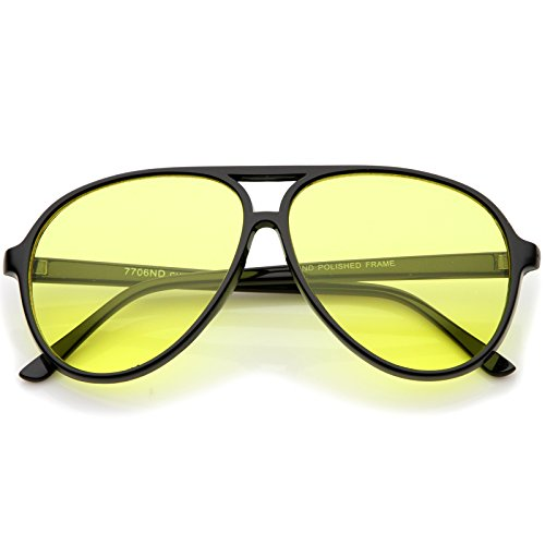 Retro Large Blue Blocking Lens Aviator Sunglasses 60mm (Black/Yellow)