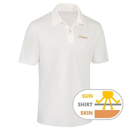 TanMeOn Durchbräunendes Poloshirt für Herren Poloshirt braun Werden, Ideal für Golf, Radsport und Freizeit. Farben: Weiss, blau oder grau, Größen S, M,L, XL, XXL (Weiß, L)