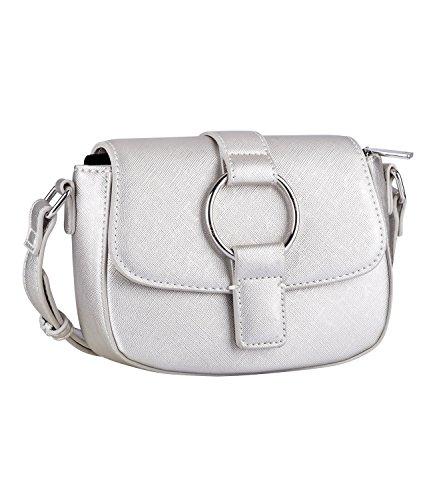 TOSH Tasche - Damen Handtasche, Umhängetasche, Cross Body Bag, Satteltasche, eckig, Metallic, Lederoptik, Silber (734-118)