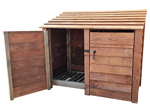 Wooden Log Store With Door 4Ft, Brown (1.49 cubic meters capacity) (W-146cm, H-126cm, D-81cm)
