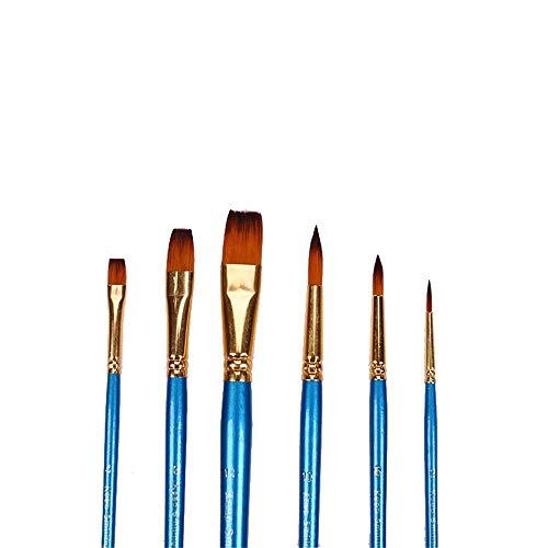 Jklt Ensemble de Pinceaux 6 pièces Perle en Nylon Bleu Pinceau for Huile Aquarelle Peinture Peinture Acrylique Facile à Nettoyer et Pratique (Couleur : Blue, Size : Free Size)