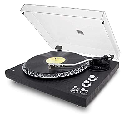 Lauson OM783 Profesional Turntable with Magnetic Neddle, Pitch control and PC link Encoding, Record Player Color Black for Vinyls Two Speeds (33/45 RPM)