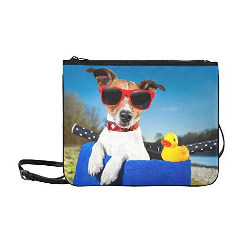 WYYWCY Urlaub Hund auf Fahrradkorb seine benutzerdefinierte hochwertige Nylon dünne Clutch-Tasche Umhängetasche Umhängetasche