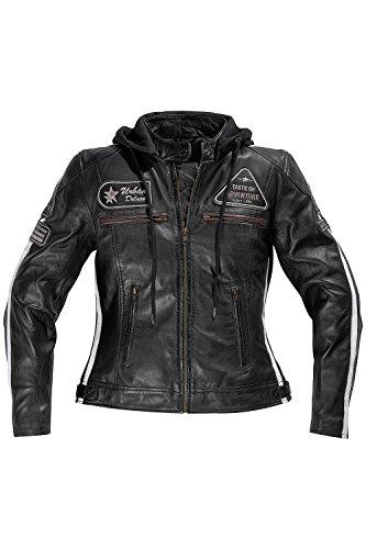 Difi JOLENE Motorradjacke Leder Damen Farbe schwarz, Größe 38