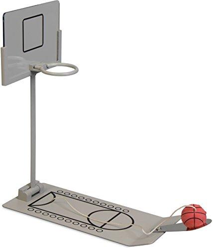 Grinscard Tischbasketball mit Metall Spielfeld - Grau 26 x 24 x 13 cm - Witziges Table Basketball mit Score Feldern